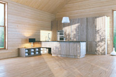 Morning in Stylish Wooden Contemporary Kitchen Royalty Free Stock Image