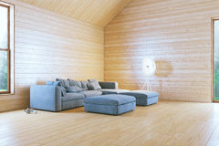 Morning in Stylish Wooden Contemporary Living Room Royalty Free Stock Photography