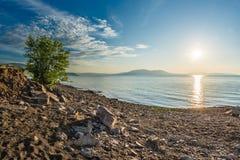 Morning. Summer. Early sunny morning on the shore of the Krasnoyarsk reservoir. Khakassia. Siberia Royalty Free Stock Image