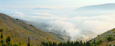 Morning summer mountain landscape ( Kefalonia, Greece). Morning cloudy summer mountain landscape ( Kefalonia, Greece). Panorama Stock Photography