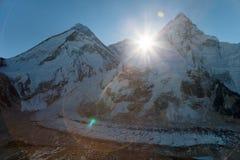 Morning sun above Mount Everest, lhotse and Nuptse Stock Image