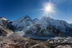 Morning sun above Mount Everest, lhotse and Nuptse Royalty Free Stock Image