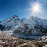 Morning sun above Mount Everest, lhotse and Nuptse Royalty Free Stock Photo