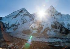 Morning sun above Mount Everest, lhotse and Nuptse Stock Photos