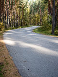 Morning sun beams over autumn road Royalty Free Stock Photography