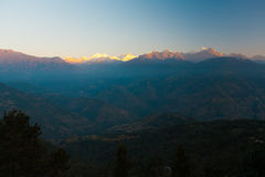 Morning Sun Kangchenjunga Peak Valley Himalayas Stock Photo