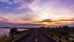 Morning sun, dam road stock video footage