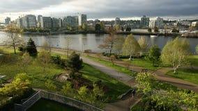 Morning Sun, False Creek Seawall, Vancouver stock footage