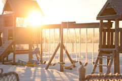 Morning Sun On Frosty Playground Royalty Free Stock Images