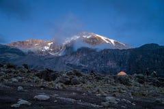 Morning sun illuminates Kibo, Mount Kilimanjaro, Tanzania Royalty Free Stock Image
