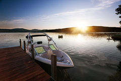 Morning sun on the lake Stock Image