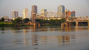 Morning Sun Lights up Golden the Buidlings and Architecture of Little Rock Arkansas stock footage