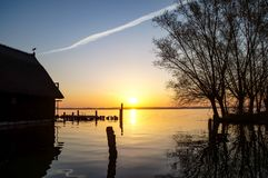 morning sun over the lake stock photography