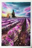 Morning sun over the landscape with a lavender field. Watercolor illustration for postcards, printing, scrabbuking and. Various backgrounds. Provence at sunset Royalty Free Stock Images