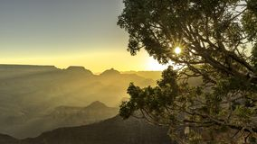 Morning sun with sun ray and Gand canyon view point ,Arizona royalty free stock images