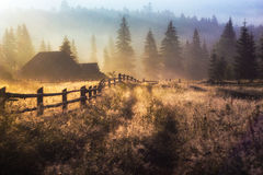 Morning sun rays in the fog mountains house. Early morning sun rays illuminate the dawn beautiful Carpathian landscape in the mist on the background of ancient Stock Photos