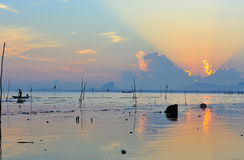 Morning sun and sea. Beautiful morning sea, sky and clouds Royalty Free Stock Images