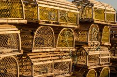 Stacked Lobster Traps Form Unique Pattern stock photography