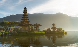 Morning sun soft light Pura Ulun Danu temple Royalty Free Stock Image