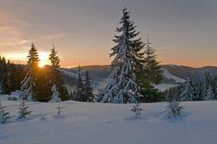 Morning sun in winter mountains Stock Photo