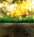 Morning sunlight background. Empty wooden with bokeh background vector illustration