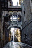 Morning sunlight entering into the gothic quarter in Barcelona Royalty Free Stock Photos