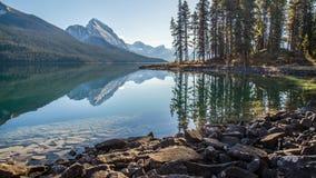 Morning sunlight at Maligne lake in Jasper National Park Royalty Free Stock Images