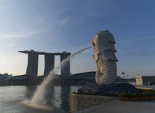 Morning sunlight on Merlion Park, Singapore Royalty Free Stock Images