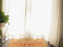 Morning sunlight through white curtain. Morning sunlight through white curtain in the living room or badroom or relax room. Vintage style royalty free stock photo
