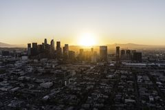 Morning Sunrise Aerial Downtown Los Angeles Royalty Free Stock Image