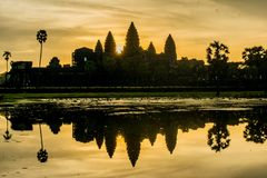 Morning sunrise at Angkor Wat stock images