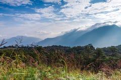 Morning sunrise behind mountain at Phusoidao national park Royalty Free Stock Images