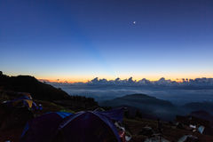 Morning sunrise camping in the mountains. Royalty Free Stock Photo