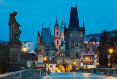 Morning sunrise Charles bridge Prague Royalty Free Stock Photo
