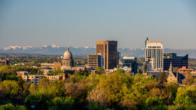 Morning sunrise on the city of Boise Idaho. Beautiful view of Boise Idaho in the spring morning Royalty Free Stock Photo