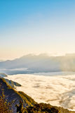 Morning sunrise, dramatic cloud of sea, giant rocks and Yushan mounatin under bright blue sky in AlishanAli mountain National Pa Royalty Free Stock Photos
