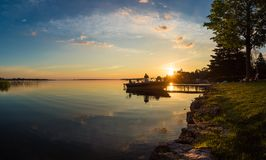Free Morning Sunrise Fishing Trip On A Boat At The Cottage Dock In Ontario Canada Royalty Free Stock Photography - 102940627