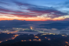 Morning sunrise and foggy of mountain. In Korea Stock Images