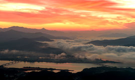 Morning sunrise and foggy of mountain. In Korea Royalty Free Stock Photos