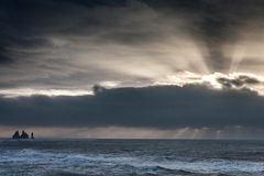 Morning Sunrise in Iceland Black Sand Beach With Ocean Water Waves and Stormy Clouds. Vik Vikurbraut Stock Photos