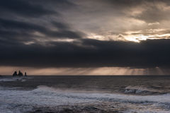 Morning Sunrise in Iceland Black Sand Beach With Ocean Water Waves and Stormy Clouds. Vik Vikurbraut Stock Image