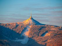 Morning sunrise at Jested Mountain and Jested Ski Resort. Winter time mood. Liberec, Czech Republic royalty free stock photography