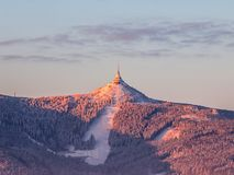 Morning sunrise at Jested Mountain and Jested Ski Resort. Winter time mood. Liberec, Czech Republic.  Stock Photography