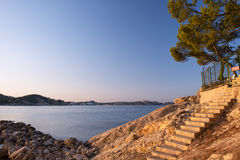Morning Sunrise in Mallorca. Sunrise on the Beach in Paguera, Mallorca (Balearic Islands - Spain Stock Image