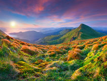 Morning sunrise in the mountains. Royalty Free Stock Image