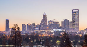 Morning sunrise over charlotte city downtown skyline Royalty Free Stock Photography