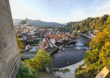 Aerial View of the river and town of Cesky Krumlov stock images