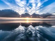 Morning sunrise reflection stock photo