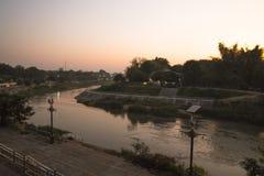 Wang River in morning. The morning sunrise at River Wang,  Lamphang, Thailand Royalty Free Stock Image