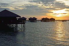Morning sunrise in Sipadan village, Mabul-Sipadan Stock Photos